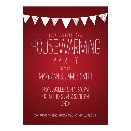 Housewarming Party Hearts Bunting Red Custom Invite