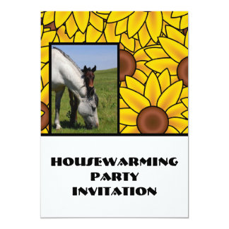 Housewarming Party Invitation sunflowers & horses
