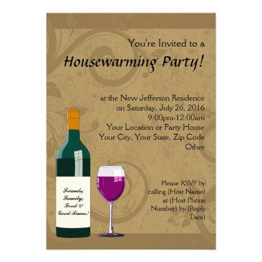Housewarming Party Invitations, Wine Theme