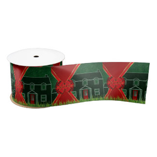 Housewarming Theme Red Bow and Green Holiday Satin Ribbon