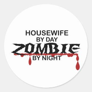 Housewife Zombie Classic Round Sticker