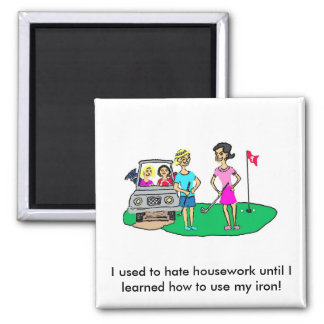 Housework and Golf Cartoon Magnet