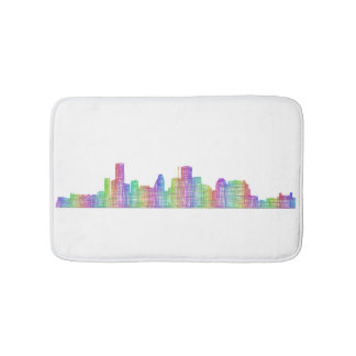 Houston city skyline bath mats
