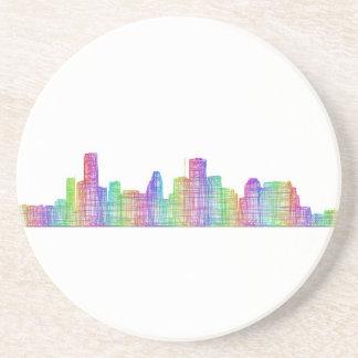 Houston city skyline drink coaster