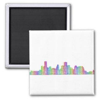 Houston city skyline square magnet