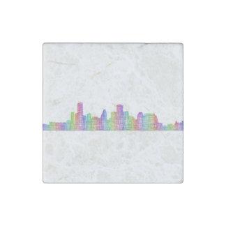 Houston city skyline stone magnet