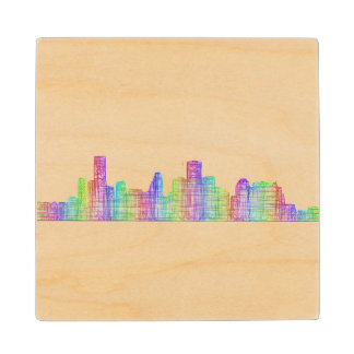 Houston city skyline wood coaster