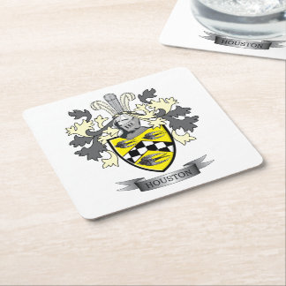 Houston Family Crest Coat of Arms Square Paper Coaster