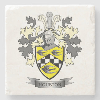 Houston Family Crest Coat of Arms Stone Coaster