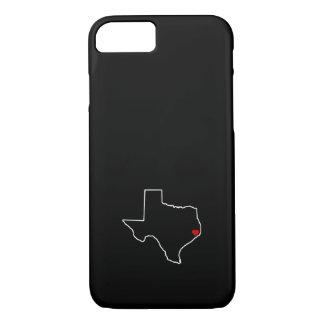 Houston Harvey Relief Texas Outline Red Heart iPhone 8/7 Case