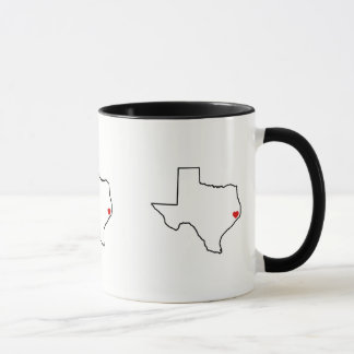 Houston Harvey Relief Texas Outline Red Heart Mug