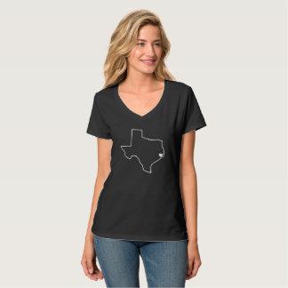 Houston Harvey Relief Texas Outline White Heart T-Shirt