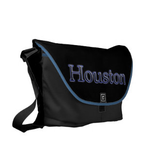 Houston in Grey and Blue - On Black Courier Bag