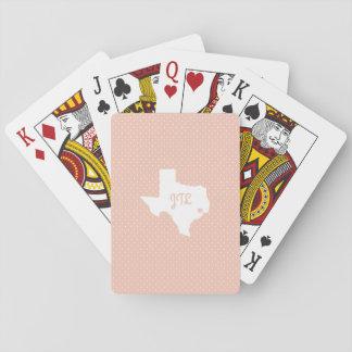 Houston Polkadot Custom Initials Playing Cards