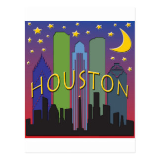 Houston Skyline nightlife Postcard