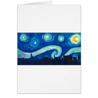 Houston Skyline Silhouette with Starry Night Card