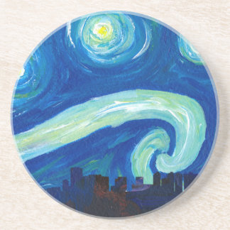 Houston Skyline Silhouette with Starry Night Coaster