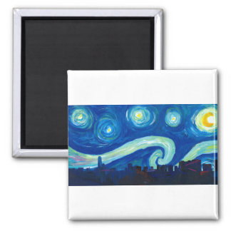 Houston Skyline Silhouette with Starry Night Magnet