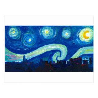Houston Skyline Silhouette with Starry Night Postcard