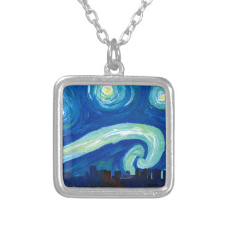 Houston Skyline Silhouette with Starry Night Silver Plated Necklace