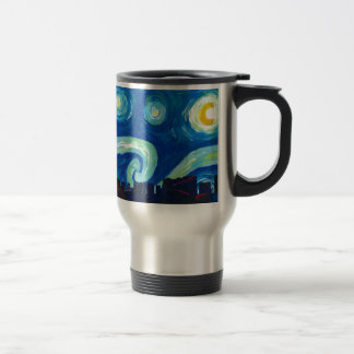 Houston Skyline Silhouette with Starry Night Travel Mug
