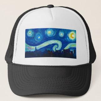 Houston Skyline Silhouette with Starry Night Trucker Hat