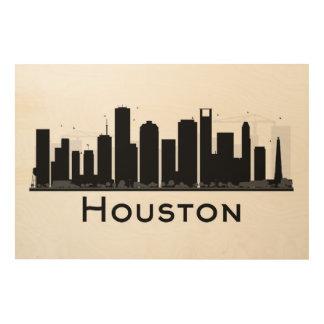 Houston, Texas | Black & White City Skyline Wood Wall Decor