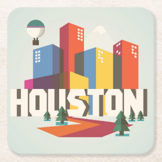 Houston, Texas | Cityscape Design Square Paper Coaster