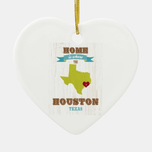Houston, Texas Map – Home Is Where The Heart Is Christmas Ornament