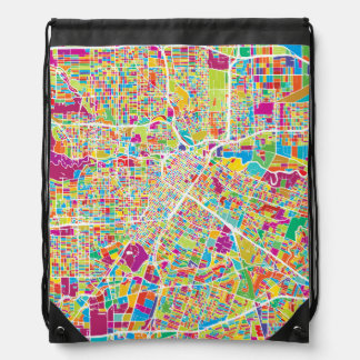 Houston, Texas | Neon Map Drawstring Bag