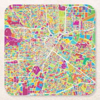 Houston, Texas | Neon Map Square Paper Coaster