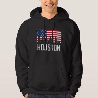 Houston Texas Skyline American Flag Hoodie