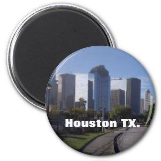 Houston Texas Skyline (Panoramic) 6 Cm Round Magnet
