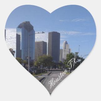 Houston Texas Skyline (Panoramic) Heart Sticker