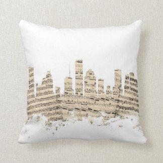 Houston Texas Skyline Sheet Music Cityscape Throw Pillow