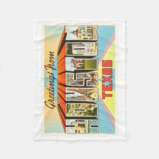 Houston Texas TX Old Vintage Travel Souvenir Fleece Blanket