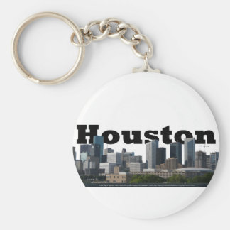 Houston, TX Skyline with Houston in the Sky Basic Round Button Key Ring
