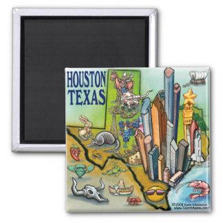 Houston TX Square Magnet