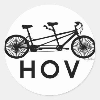 HOV Tandem Bicycle Round Sticker