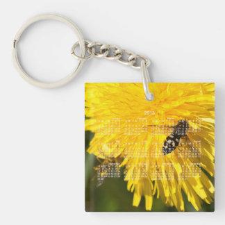 Hoverflies on Dandelions; 2013 Calendar Single-Sided Square Acrylic Key Ring