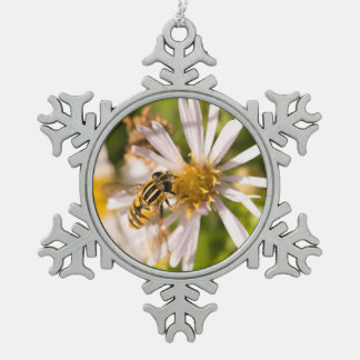 Hoverfly Snowflake Pewter Christmas Ornament