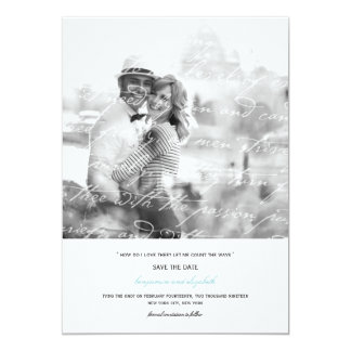 """How Do I Love Thee Poem Save The Date Photo Card 5"""" X 7"""" Invitation Card"""
