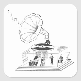 How does a Gramophone actually work? Square Sticker