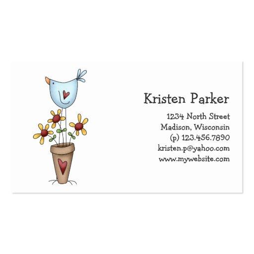 How Does Your Garden Grow · Bird & Flowers Business Card