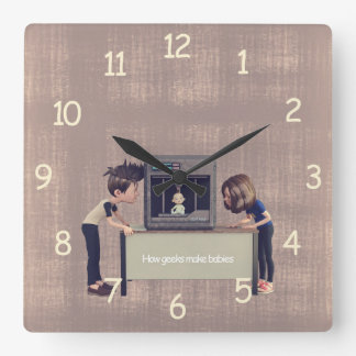 How Geeks Make Babies Square Wall Clock