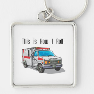 How I Roll Ambulance Silver-Colored Square Key Ring