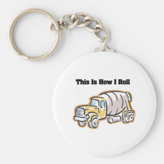 How I Roll (Cement Truck) Basic Round Button Key Ring