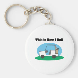 How I Roll (Golf Cart) Basic Round Button Key Ring