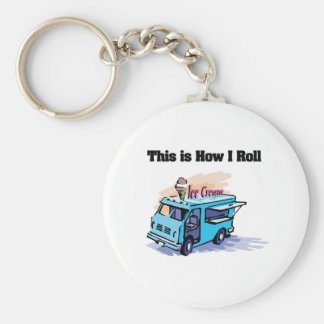 How I Roll (Ice Cream Truck) Basic Round Button Key Ring