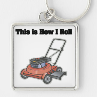 How I Roll (Lawn Mover) Silver-Colored Square Key Ring